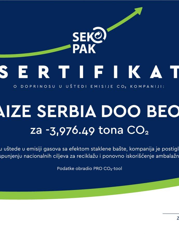 Delez Srbija dobitnik sertifikata o doprinosu uštedi emisije ugljen-dioksida